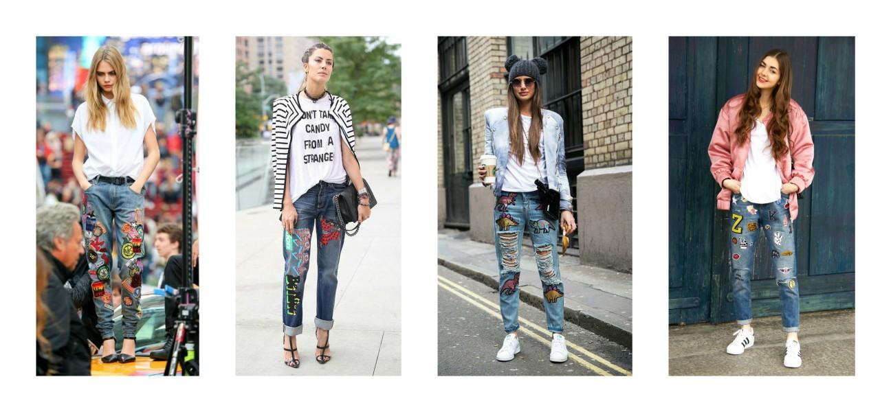 Як комбінувати джинси з нашивками